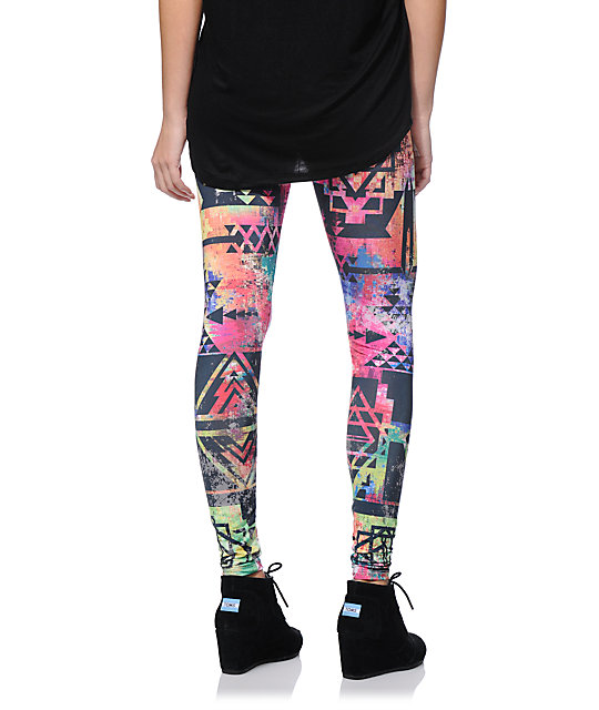See You Monday Multicolor Distressed Tribal Leggings