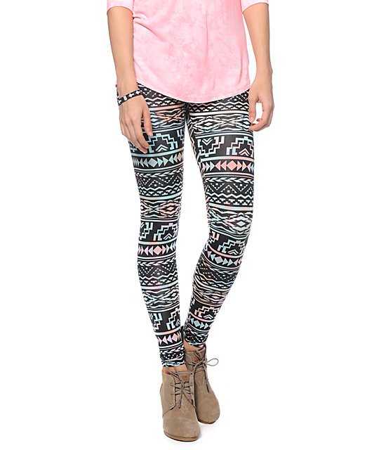 See You Monday Multicolor Pastel Tribal Print Leggings