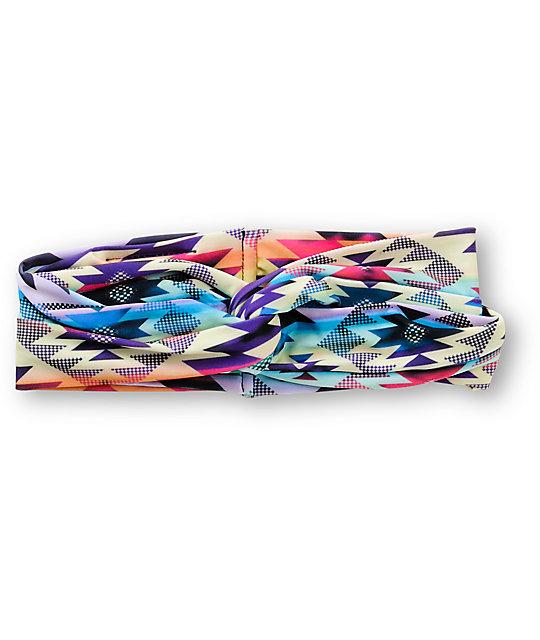 See You Monday Pastel Rainbow Tribal Print Headband