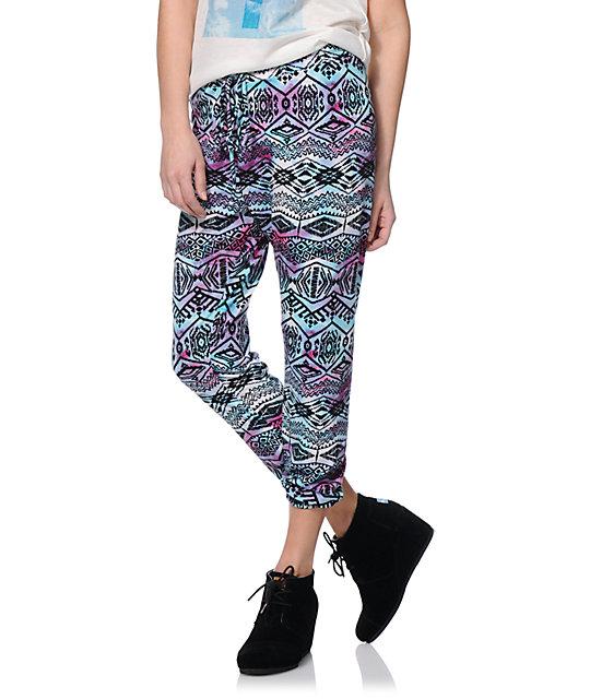 See You Monday Purple Tie Dye Tribal Print Jogger Pants