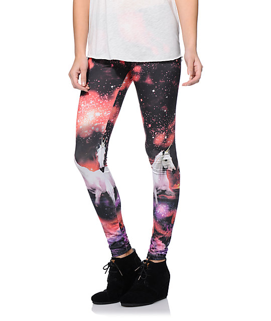 See You Monday Red Unicorn & Galaxy Print Leggings