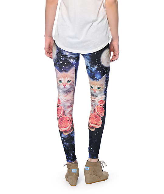 See You Monday Space Kitty Roses Printed Leggings