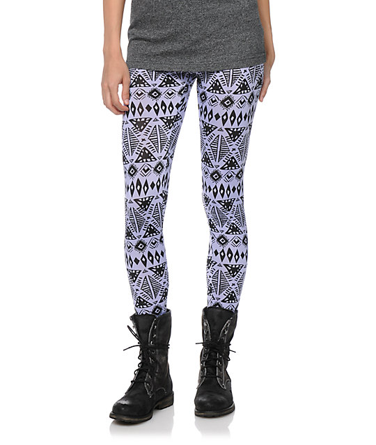 See You Monday Tribal Print Lavender Leggings