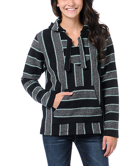 Senor Lopez Black, Blue & Grey Poncho