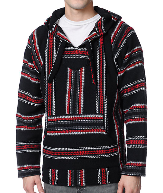 Senor Lopez Black, Charcoal & Red Poncho