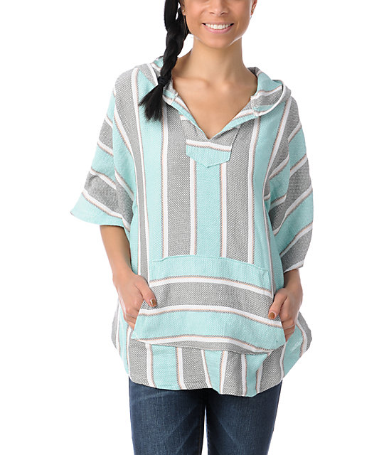 Senor Lopez Grey, Mint & Peach Light Weight Shawl Poncho