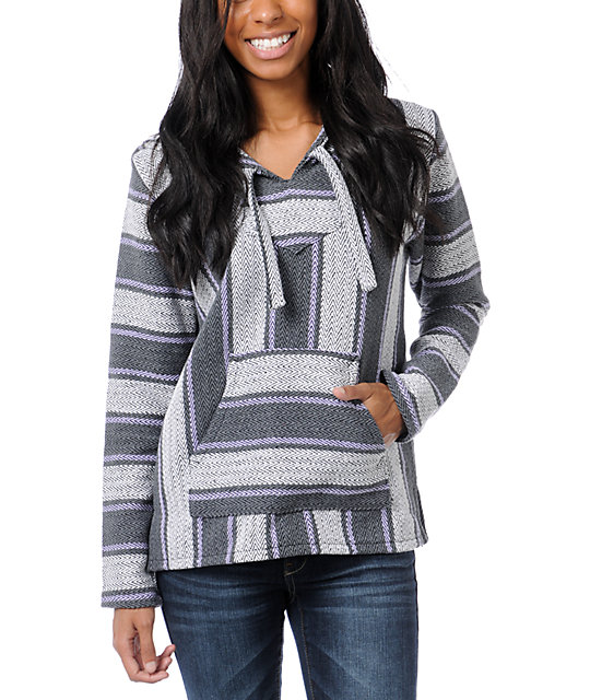 Senor Lopez Grey, White & Purple Perfecta Poncho