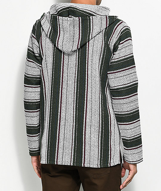 Senor Lopez Small Stripe Cluster Grey Poncho