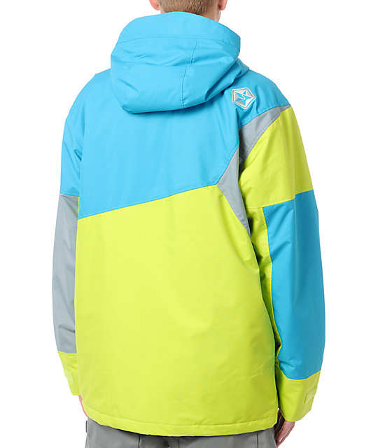 Sessions Decon 10K Neon Yellow, Blue & Grey Snowboard Jacket