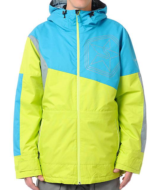 Sessions Decon 10K Neon Yellow, Blue & Grey Snowboard Jacket | Zumiez