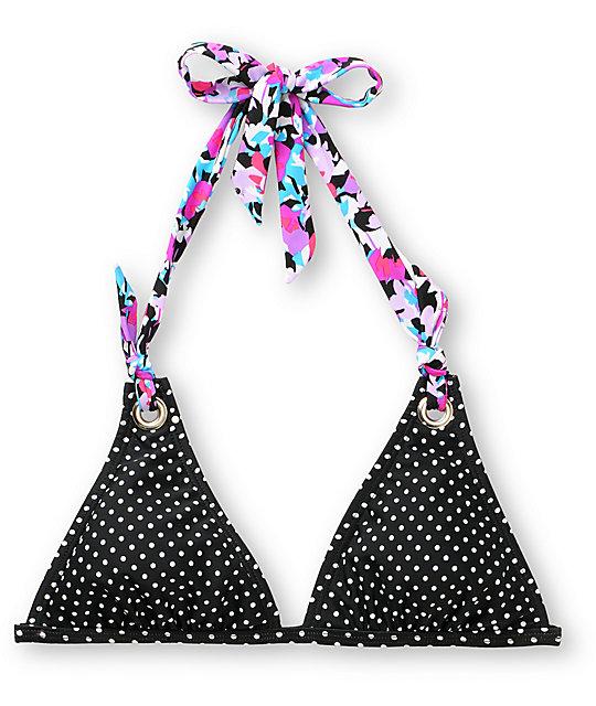Shi Polka Dot & Floral Black Halter Bikini Top