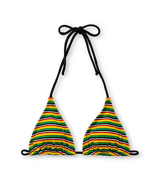 Shi Rasta & Black Mini-Stripe Bikini Top