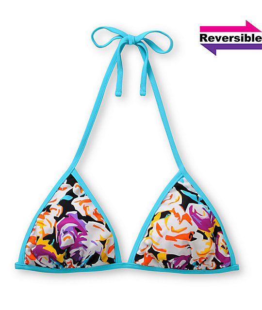 Shi Reversible Floral & Stripe Triangle Bikini Top