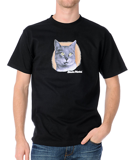 Skate Mental A Cat Glow In The Dark Black T-Shirt