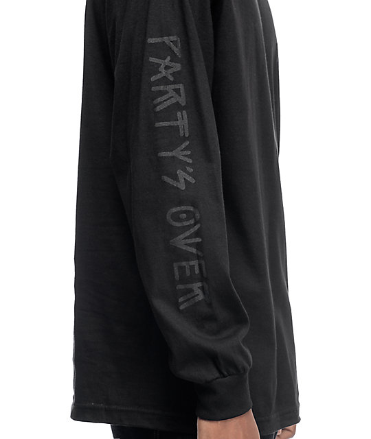 Sketchy Tank Party's Over Black On Black Long Sleeve T-Shirt