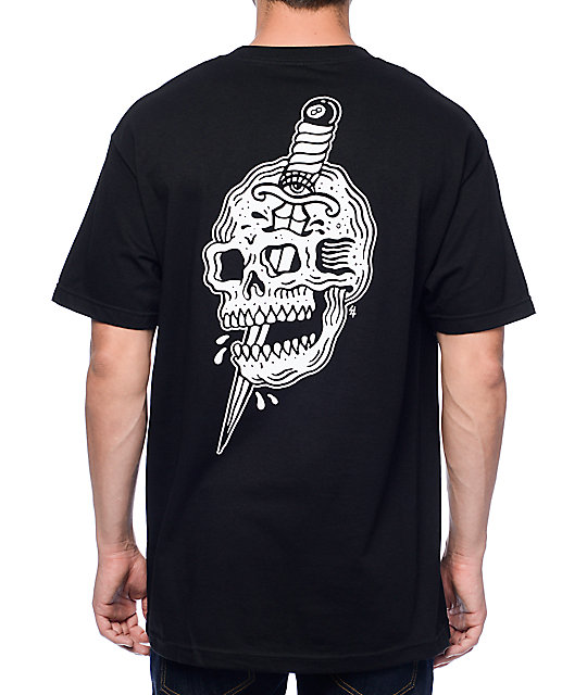 Sketchy tank x swallows daggers skull black t shirt for Be sketchy t shirts