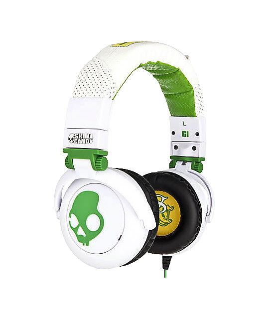 Skullcandy GI White & Green Headphones