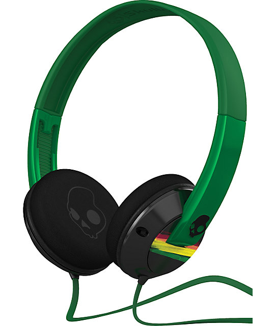 Skullcandy Green & Rasta Uprock Headphones