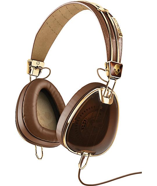 Skullcandy x Roc Nation Aviator Micd Brown & Gold Headphones