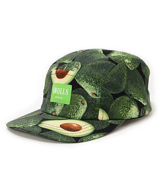Skulls Avocado Green 5 Panel Hat