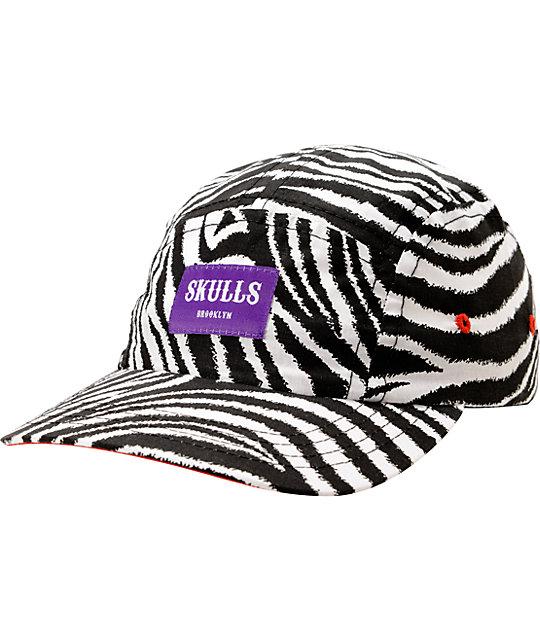 Skulls Zebra Print 5 Panel Hat