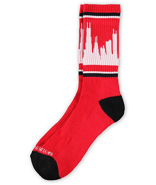 Skyline Classic City Chicago Red & Black Socks