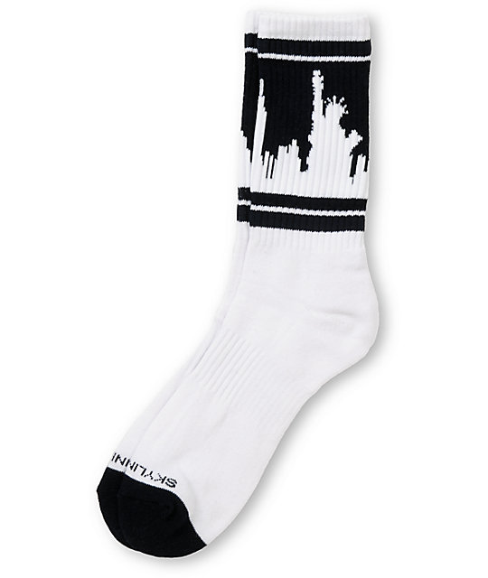 Skyline Socks New York White & Navy Blue Crew Socks