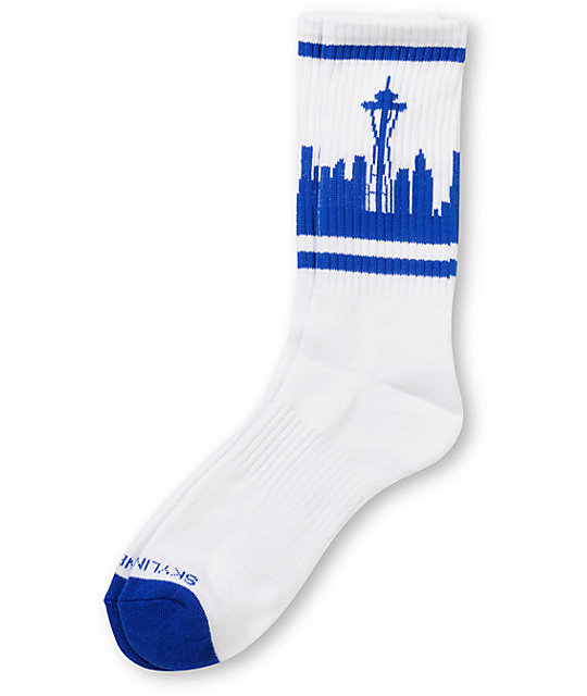 Skyline Socks Seattle Blue & White Crew Socks