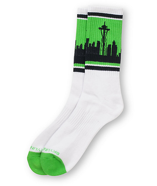 Skyline Socks Seattle Hawks White Crew Socks
