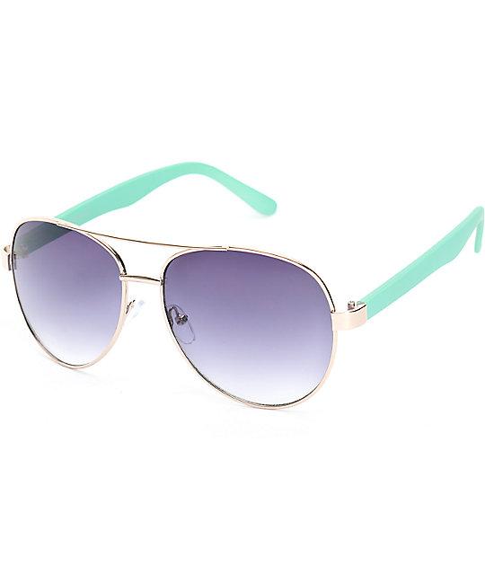 Slam Gold & Mint Aviator Sunglasses