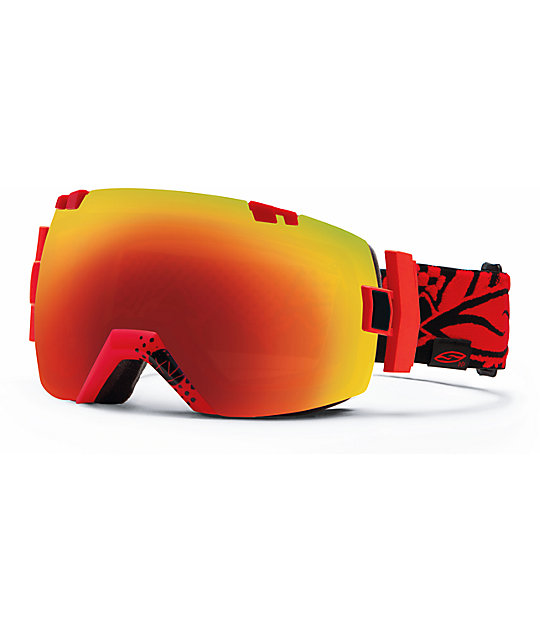 Smith I-O X Xavier Charger & Red Sol-X Snowboard Goggles