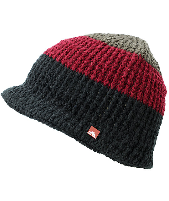 Spacecraft Brim Black, Burgundy & Grey Visor Beanie