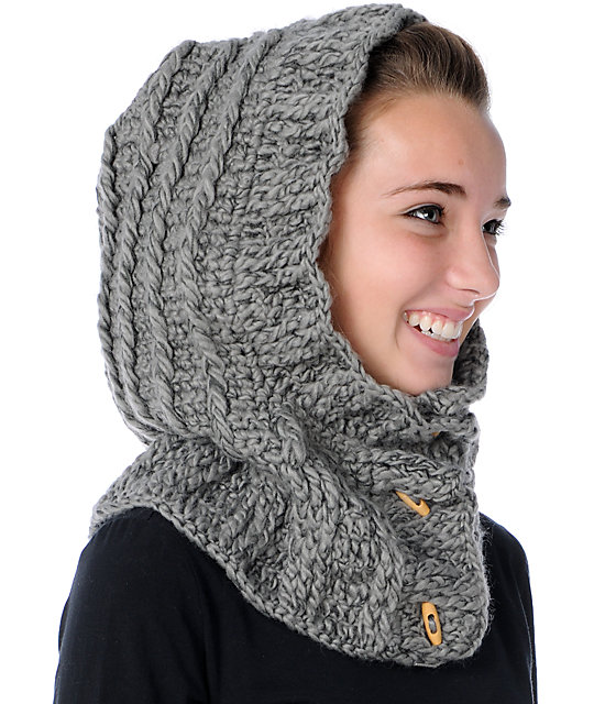 Hooded Scarf Knitting Pattern For Beginners : Spacecraft Eve Grey Hooded Beanie