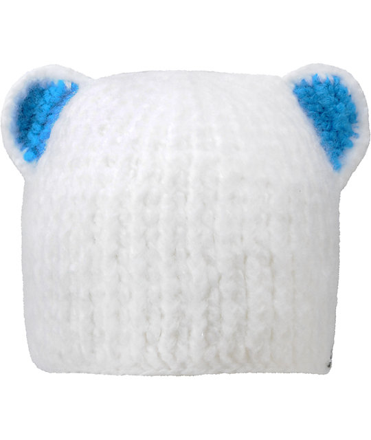 Spacecraft Girl Buddha Bear White Beanie