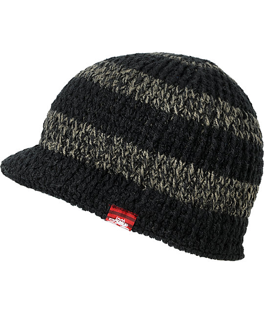Spacecraft Striped Black & Grey Visor Beanie