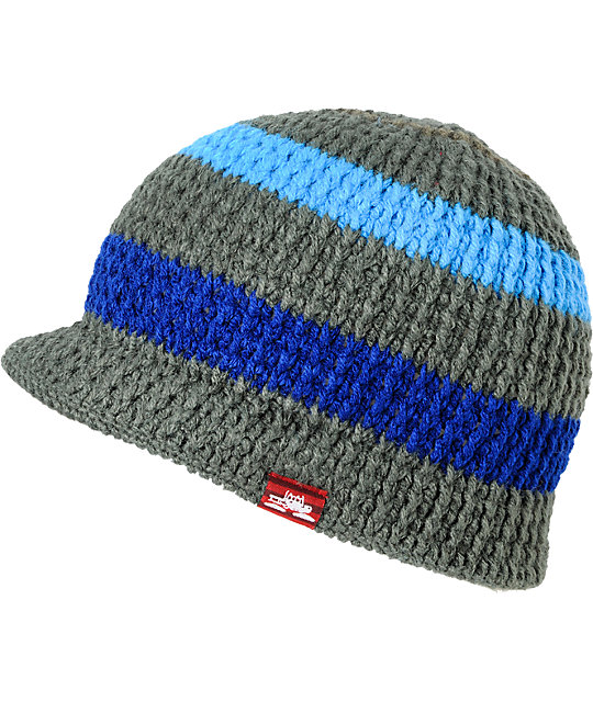 Spacecraft Striped Grey & Blue Visor Beanie