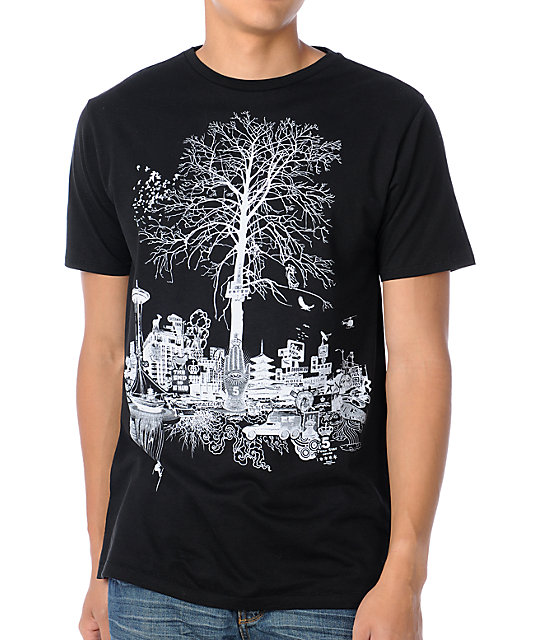 Spacecraft Tree City Black T-Shirt