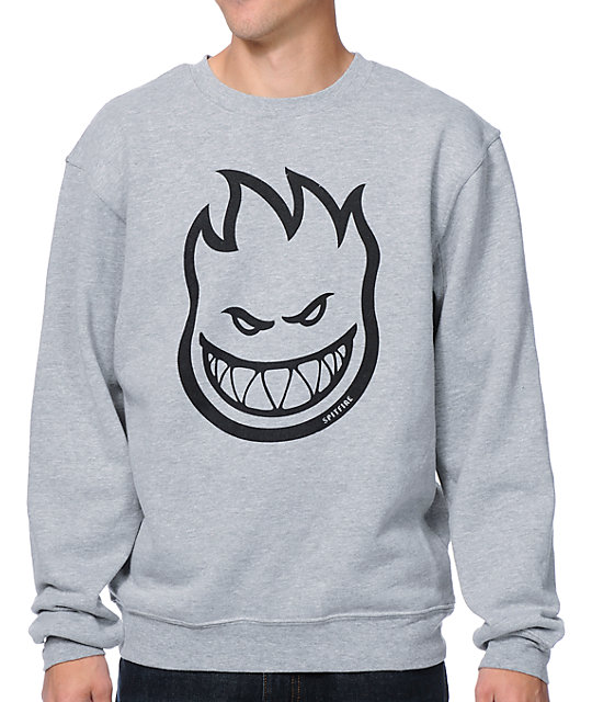 Spitfire Bighead Heather Grey Crew Neck Sweatshirt