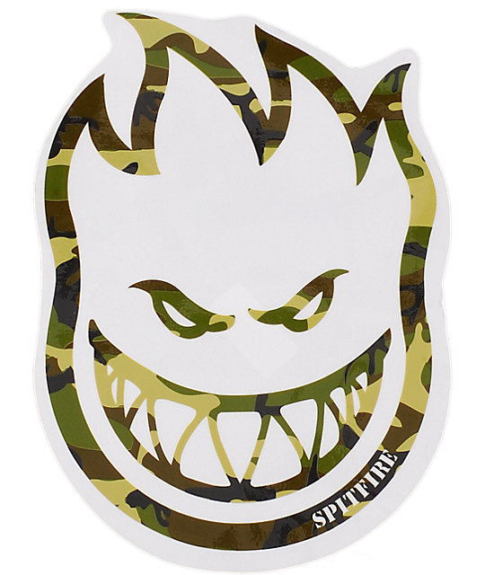 Spitfire Camo Large Fireball Bighead Sticker
