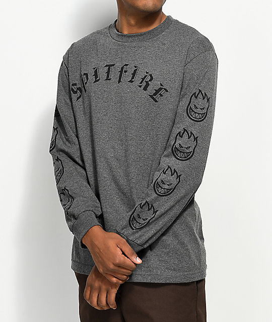 spitfire long sleeve t shirt. spitfire old e heather charcoal long sleeve t-shirt t shirt