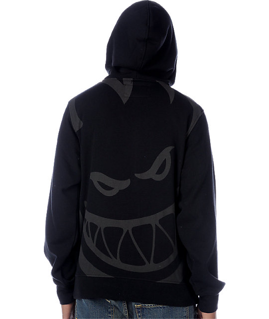 Spitfire Solid With Back Print Black Hoodie