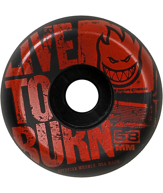 Spitfire Striker 58mm Black & Red Skateboard Wheels