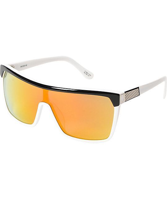 Spy Flynn White, Black, & Red Flash Mirror Sunglasses
