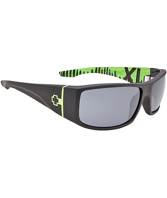 Spy Sunglasses Cooper XL Ken Block Signature Matter Black & Green Sunglasses