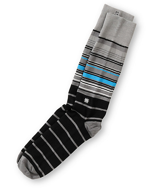 Stance Ace Black & Grey Stripe Crew Socks