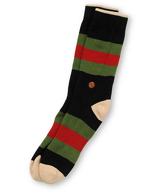 Stance Florence Green, Red, & Black Striped Crew Socks