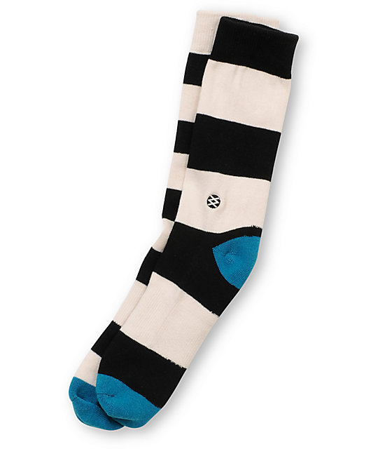 Stance Mariner White & Black Striped Crew Socks