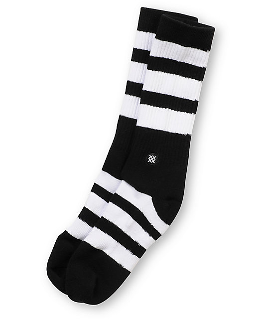 Stance Shift Black & White Striped Crew Socks