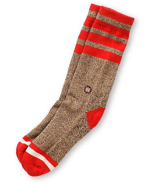 Stance Sock Monkey Heathered Brown Crew Socks