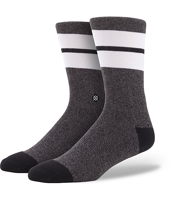 Stance Throttle Heathered Black & White Crew Socks